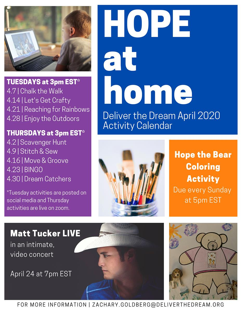 Hope at Home April 2020 calendar